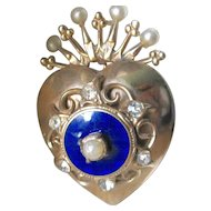 Vintage Gold-Toned Heart Crown Brooch With Simulated Pearls And Rhinestones