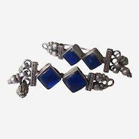Vintage Sterling Silver Blue Glass Dangle Earrings