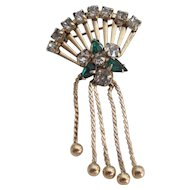 Vintage Gold-Filled Rhinestone Fan With Beaded Tassel Brooch