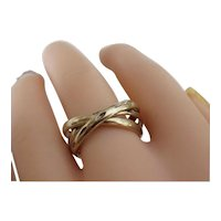 Vintage Sterling Silver Roller Ring With Heavy Gold Finish