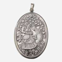 Vintage Hallmarked European Sterling Silver Romantic Oval Pendant