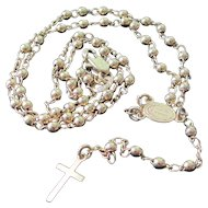 Vintage Gold Tone Rosary With Sacred Heart Medallion And Cross