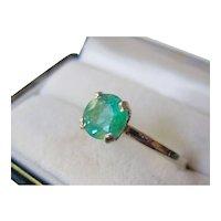 Estate Platinum, 14K White Gold, 1.06ct. Natural Green Emerald Expandable Ring