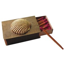 Vintage Gold Florentine Seashell Match Box With Original Matchsticks Mid 60's