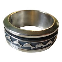 Vintage Sterling Silver Dolphin Roller Ring