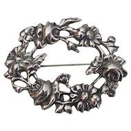 Romantic Vintage European Sterling Silver Floral Brooch