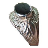 Vintage Sterling Silver Ring With Black Onyx Stone