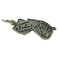 Vintage Sterling Silver New Jersey State  Charm