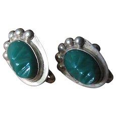 Vintage Sterling Silver Green Onyx Mayan Mask Screw Back Earrings