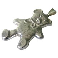 ADORABLE! Sterling Silver Large Teddy Bear Pendant