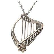 Vintage Sterling Silver Harp Pendant