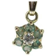 Vintage 14K Y.G. Emerald & Diamond Cluster Pendant