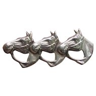 Vintage Sterling Silver Equestrian Triple Horse Brooch