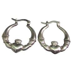 Vintage Sterling Silver Irish Claddagh Hoop Earrings