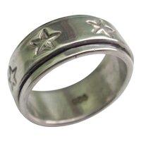 Vintage Sterling Silver Star Roller Ring