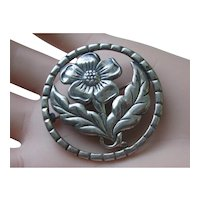 Vintage Sterling Silver Flower & Leaf Brooch Early 30's