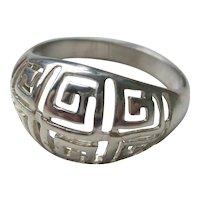 Vintage Sterling Silver Greek Dome Ring