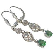 Gorgeous Platinum 14K WG Tsavorite Garnets With Old Mine Diamonds Dangling Earrings
