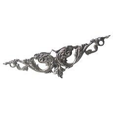 Classic Elongated  Victorian Sterling Silver Repousee Brooch