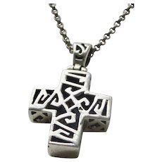 Vintage Sterling Silver Reticulated Cross With Sterling Silver 18 3/4 Inch Chain