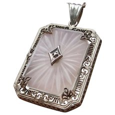 Art Deco Camphor Glass Diamond Sterling Silver Pendant With Chain
