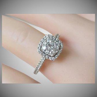 Estate 14K White Gold .60tcw Halo Diamond Engagement Ring