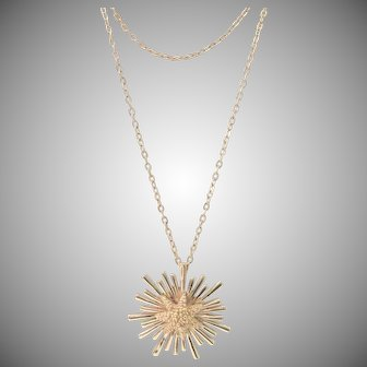 Vintage Designer Monet Starburst StarFish Pendant With Double Chain