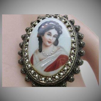 Impressive Vintage Limoge Lady Portrait Oval Pendant/Brooch