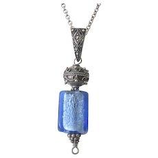 Vintage Sterling Silver Blue Glass Marcasite Pendant Enhancer