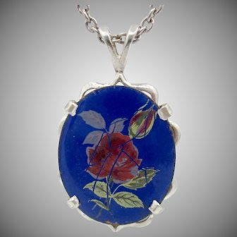 Lovely Vintage Sterling Silver Enamel Pendant With Chain