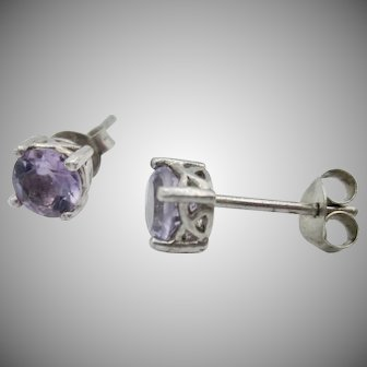 Vintage .1.50tcw Round Natural Amethyst Sterling Silver Filigree Studs