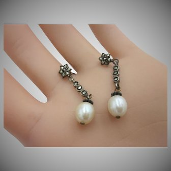 Vintage Sterling Silver Dangle Earrings With Cultured Pearl And Marcasites