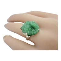 Vintage Sterling Silver Green Flowered Glass Ring