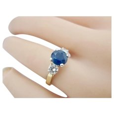 Estate 14K Two-Tone 1.50ct Natural Sapphire With .55tcw Diamond Ring