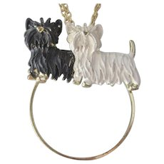 Darling Vintage Terrier Dogs on Magnifier Pendant With Chain
