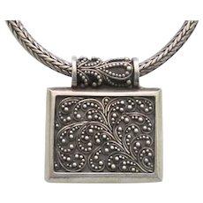 Estate Sterling Silver Bali Design Pendant Necklace