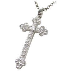 Estate Sterling Silver Cross With Sparkling CZ