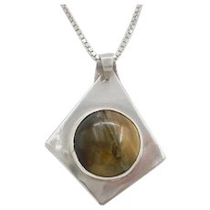 Vintage Tiger Eye Sterling Silver Pendant