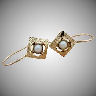 Darling Vintage 14K Y/G Cultured Seed Pearl Dangle Earrings