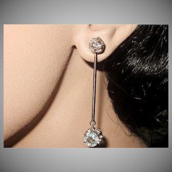 Estate 3.04tcw Diamonds Aqua Platinum Dangle Jacket Earrings