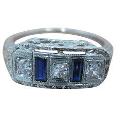 Stunning! Art Deco Old Mine Diamonds With Sapphires 10K WG Ring