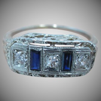 Stunning! Art Deco Old Mine Diamonds With Sapphires 10K WG Ring