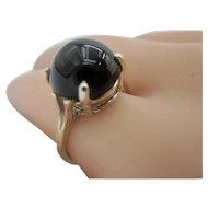 Vintage Early 70's Black Onyx Cabochon Ring