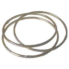 Vintage 14K Gold Filled Over Sterling Silver 3 Roller Bangle Bracelets