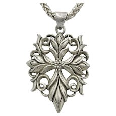 Vintage Sterling Silver St Thomas Cross Pendant on Heavy Sterling Silver Wheat Chain