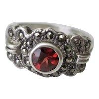 Vintage Sterling Silver Red Garnet Marcasite Ring