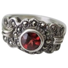 Vintage Sterling Silver Red Garnet Marcasite Ring