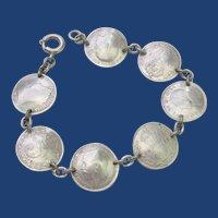 Antique Great Britain Sterling Silver Coin Link Bracelet 1800 Era