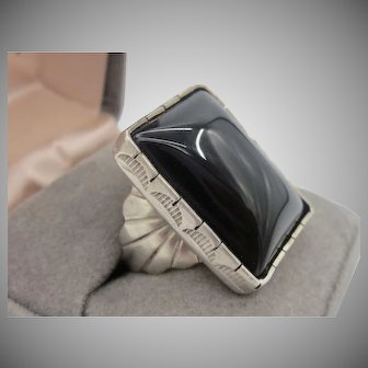 Vintage Sterling Silver Old Pawn Black Onyx Unisex Ring