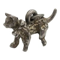 Vintage 3-D ADORABLE SOLID Sterling Silver Prancing Cat With Bow